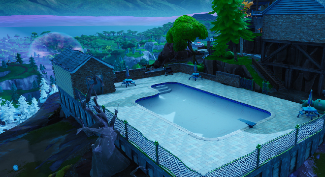 Fortnite: Dance In Front Of A Bat Statue, Way-Aboveground Pool, And A Seat For Giants